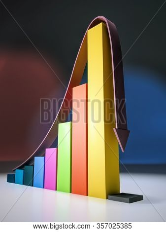 3D render of bar graph representing economic growth with sudden crash