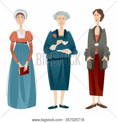 History Of England. Famous English Writers. Jane Austen, Agatha Christie, Virginia Woolf. Vector Ill