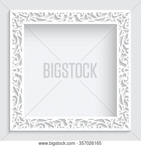 Square White Frame With Ornate Border Pattern, Cutout Paper Swirls Ornament, Template For Laser Cutt