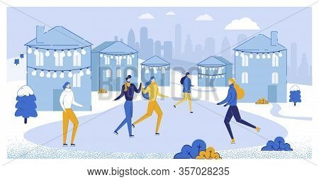 Couple And Friends On Ice Rink Flat Cartoon Vector Illustration. Winter Sport In City Center. Ice Sk