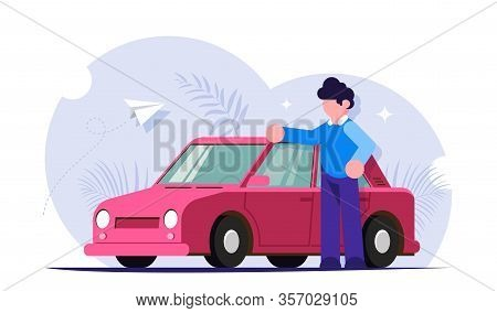 Happy Motorist Concept. People Stands Next To His Red Car. Buying Or Service For Cars. Modern Flat I