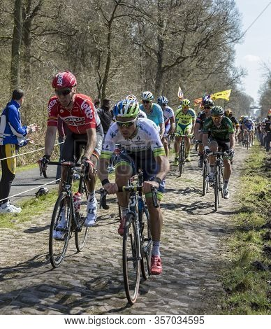 Wallers,france - April 12,2015: The German Cyclist Marcel Sieberg Of  Lotto-soudal Team Riding In Th