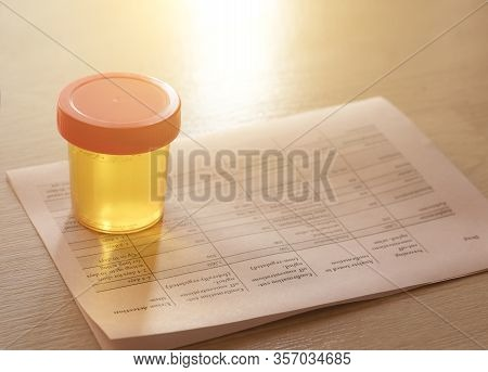 Urinalysis, Drug Testing, Drug. Plastic Jars For Medical Tests.. Urine Test