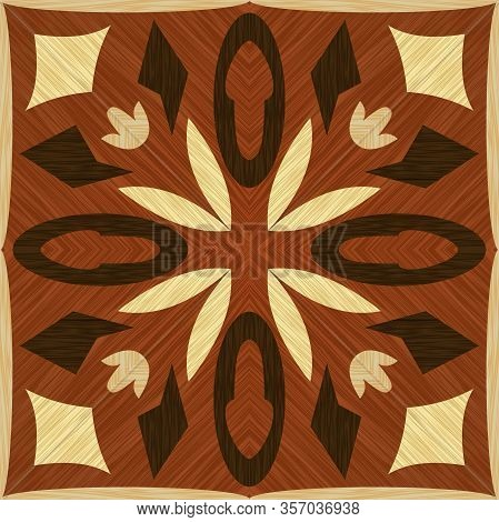 Symmetric Geometric Wooden Inlay, Light And Dark Wooden Patterns. Veneer Textured Geometric Ornament