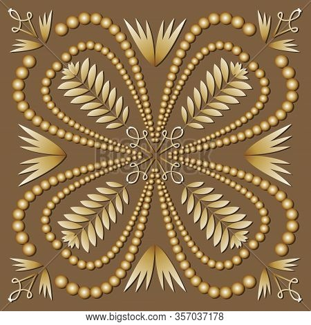 Square Tile Filigree Ornament In Luxurious Gold Design. Antiquarian Motif In Art Deco Style. Elegant