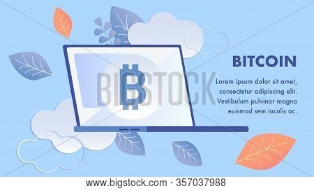Bitcoin, Blockchain Technology Banner Template. E Business, E Commerce Innovation. Cryptocurrency, V