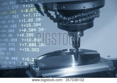 The Abstract Sceneof 5-axis Cnc Milling Machine  Cutting The Mold Parts By Solid Barrel Endmill Tool