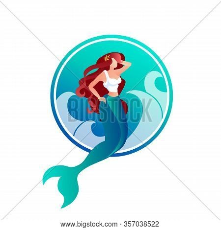 Beautiful Long Haired Mermaid With Laurel Wreath On Head On Sea Waves Background. Mythological Creat