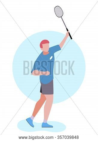 Cartoon Man Playing Badminton Outdoors Isolated Illustration. Vector Flat Experienced Male Athlete H