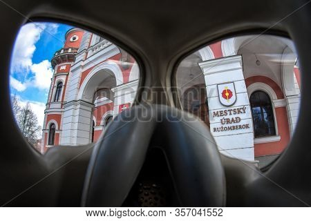 Ruzomberok, Slovakia - March 22: View Through Protective Gas Mask On Town Hall On March 22, 2020 In