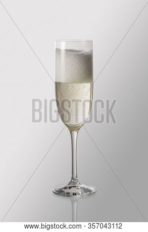 Goblet Flute With Sparkling Wine Isolated With Clipping Path