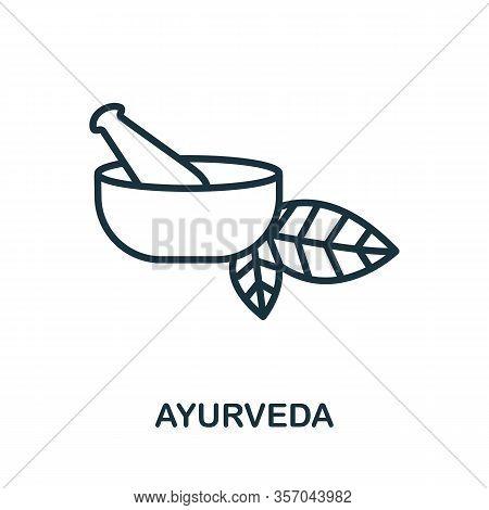 Ayurveda Icon From Alternative Medicine Collection. Simple Line Ayurveda Icon For Templates, Web Des