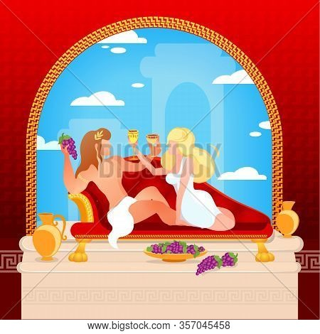 Beautiful Couple Of Dionysus And Ariadne Gods Of Greek Mythology Sitting On Sofa Drinking Wine And E
