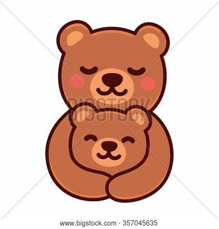 Cute Cartoon Bear Mom Hugging Baby Cub, Sweet Brown Bears Family Drawing. Simple Vector Clip Art Ill
