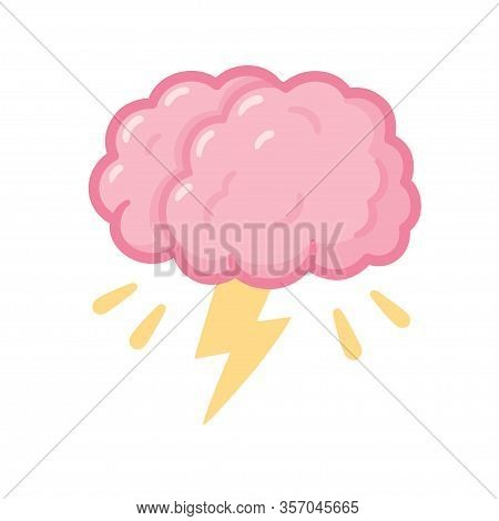 Brainstorm Drawing, Cartoon Brain With Storm Lightning. Creative Thinking And Problem Solving. Isola
