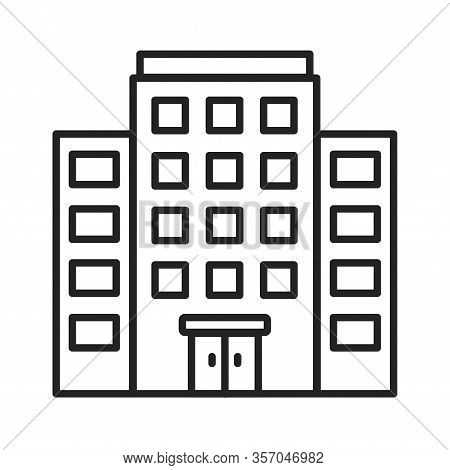 Multi-storey Building Black Line Icon. Building With Several Floors At Different Levels Above The Gr