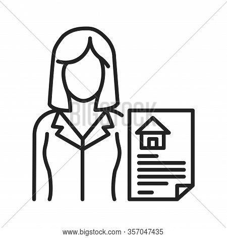 Realtor Black Line Icon. Expert Who Is Engaged In Real Estate Transactions. Pictogram For Web Page,