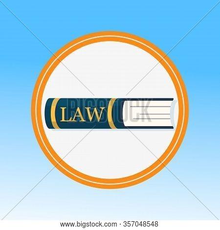 Law Book, Legal Education Flat Vector Illustration. Jurisprudence Knowledge Symbol In Round Frame. C