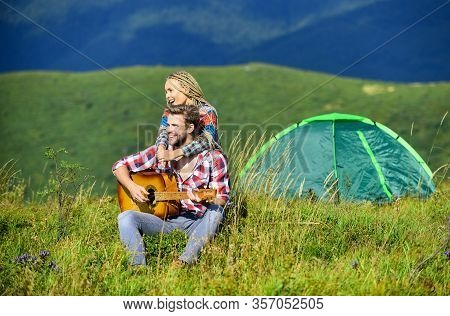 Fresh Air And Pure Feelings. Summer Vacation. Camping Vacation. Hiking Romance. Camping In Mountains