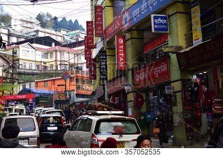 Darjeeling, India- December 27, 2019: Lifestyle Of People In The City In Darjeeling In India. City L