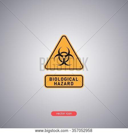 Biohazard Warning Icon. Bio-hazard Sign In An Orange Triangle. Vector Illustration.