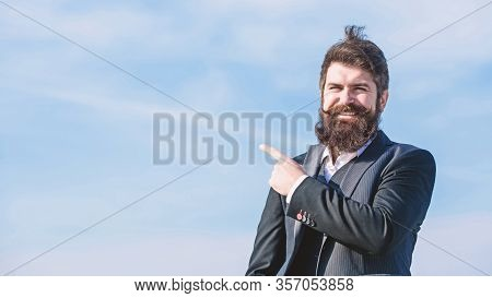 Project Manager. Businessman Against The Sky. Brutal Caucasian Hipster With Moustache. Mature Hipste