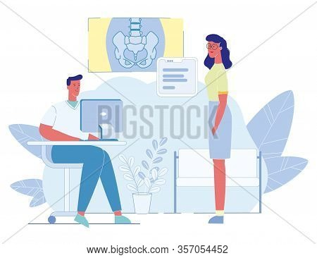 Woman Patient With Complaints Visiting Traumatologist. Man Doctor Analyzing Pelvic Skeleton X-ray Im