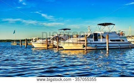 Ships Moored At Fleesen Lake Jetty In Göhren-lebbin (germany)