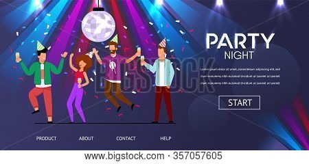 Man Woman Friends Dance Party Night Vector Illustration. Happy People Celebrate New Year Birthday Ce