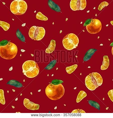 Watercolor Illustration, Pattern. Tangerines, Slices Of Tangerines And Tangerine Leaves. Dark Red Ba