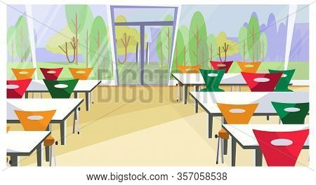 Diner Interior Illustration. Cafe, Fast Food Restaurant, Table, Chair. Food Industry Concept. Can Be