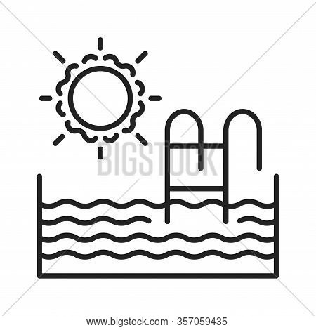 Swimming Pool Black Line Icon. House Amenities Sign. Outdoor Recreation Symbol. Pictogram For Web Pa