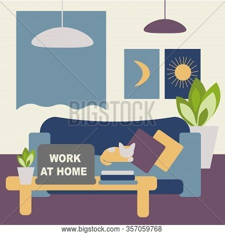 Coronavirus Work At Home Concept, Freelance And Telecommuting Subject. Image Of The Room Equipped Fo