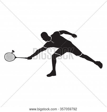 Sportsman Playing Badminton With Racket And Shuttlecock, Black Silhouette, Vector Illustration. Badm