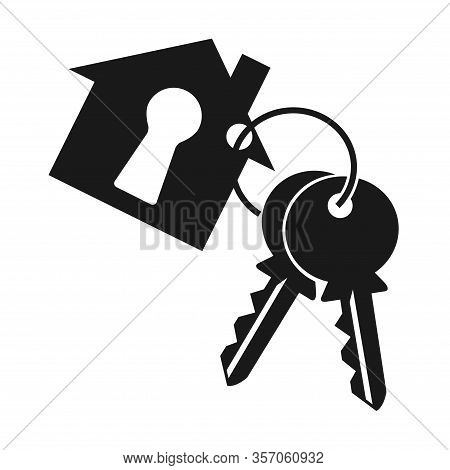 House With Keyhole, Two Key And Key Ring. Keychain Symbol, Icon Silhouette On White Background