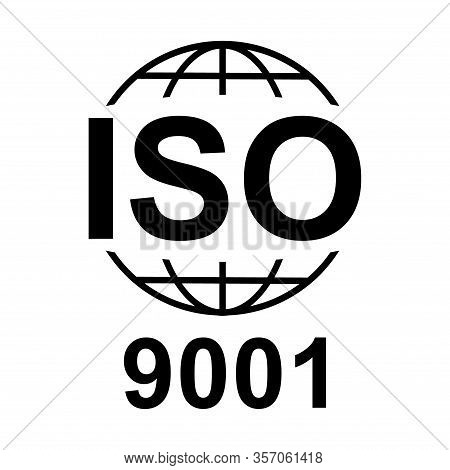 Iso 9001 Icon. Standard Quality Symbol. Vector Button Isolated On Black Background