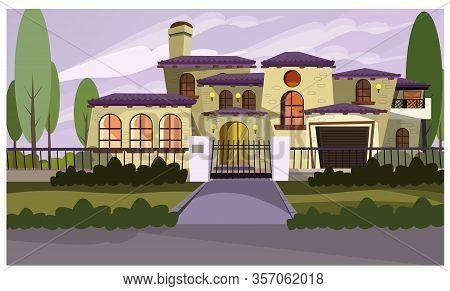 Resident House Illustration. Apartment, Mansion, Retro Style, Exterior. Building Concept. Can Be Use
