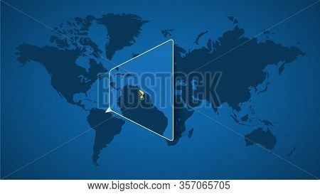 Detailed World Map With Pinned Enlarged Map Of Guyana And Neighboring Countries. Guyana Flag And Map