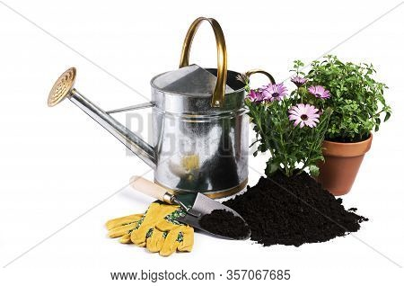Gardening Tools And Plants Isolated On White. Gardening - Set Of Tools For Gardener And Flowerpots