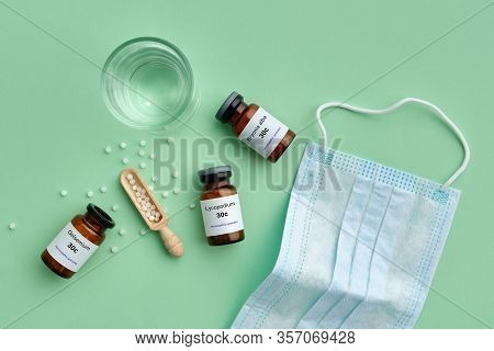 Bottles Of Homeopathic Drugs - Gelsemium, Lycopodium, Bryonia - Remedies Recommended By Homeopaths F