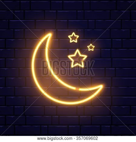 Neon Golden Crescent And Stars. Ramadan Kareem Neon Sign On Brick Wall. Glorious Month Of Muslim Yea