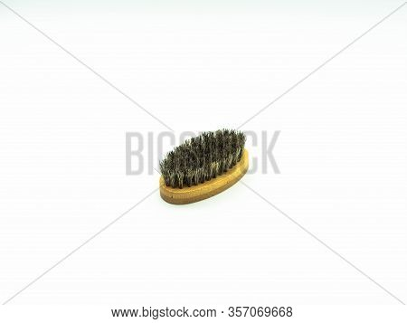 Beard Brush Made Of Bamboo Wood With Natural Bristles Insulated On A White Background Concept Facial