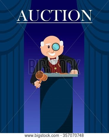 Old Man Auctioneer With Hammer Between Curtains Poster. Cartoon Character With Eyeglass Or Monocle A