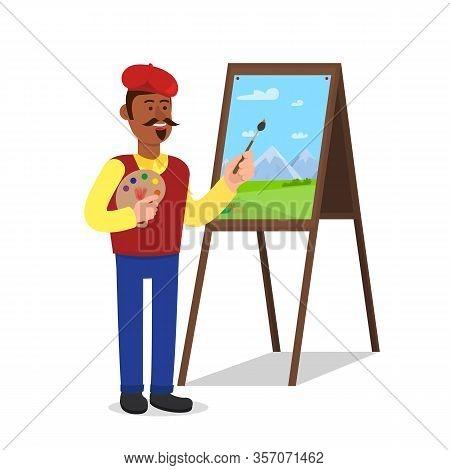 Man Painter Near Malbert On White Background. Show Pointer On Board. School Education. Male Teacher
