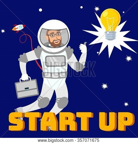 Creative Startup Social Media Flat Banner Layout. Entrepreneur In Pressure Suit In Open Space Cartoo