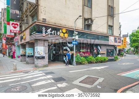 TAIPEI, TAIWAN - July 2, 2019: Street view of city center in Taipei, Taiwan