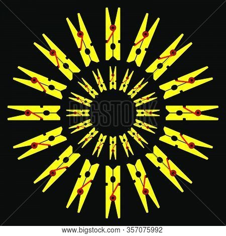 The Sun From Yellow Clothespins On A Black Background. Vector Illustration