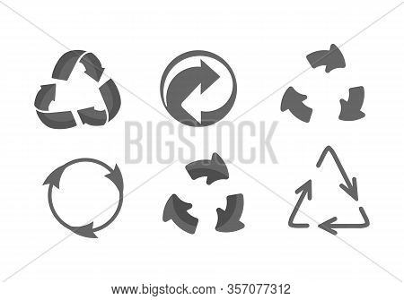 Universal Recycling Symbol. Recycle Plastic. Set Of Recycling Icons In Different Styles - Outline, G