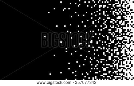 The Pixels Are Scattered, Dissolve. Pixel Gradient Speed Seamless Pattern. Black And White Abstract