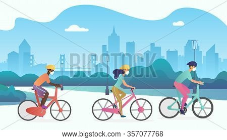 Vector Group Of Cyclists People Wearing Protection Medical Face Mask And Riding Bikes In Public Park